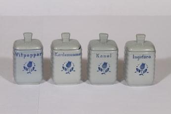 Arabia tekstikuvio maustepurkit, sininen, 4 kpl, suunnittelija , puhalluskoriste