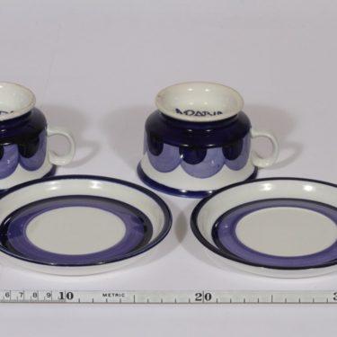 Arabia Paju teekupit, käsinmaalattu, 2 kpl, suunnittelija Anja Jaatinen-Winquist, käsinmaalattu, signeerattu, retro kuva 2