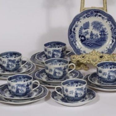 Arabia Singapore kahvikupit ja lautaset, sininen, 6 kpl, suunnittelija , kuparipainokoriste