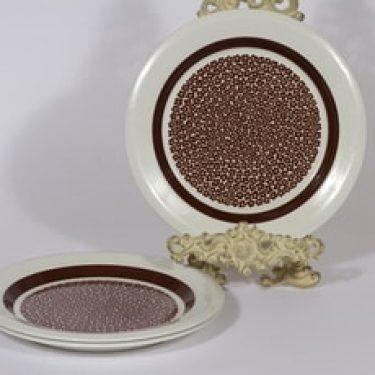 Arabia Faenza lautaset, ruskea, 3 kpl, suunnittelija Inkeri Seppälä, matala, serikuva