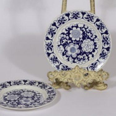 Arabia Gradenia lautaset, sininen, 2 kpl, suunnittelija Esteri Tomula, pieni, serikuva