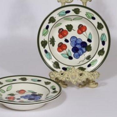 Arabia Palermo lautaset, syvä, 3 kpl, suunnittelija Dorrit von Fieandt, syvä, käsinmaalattu, signeerattu