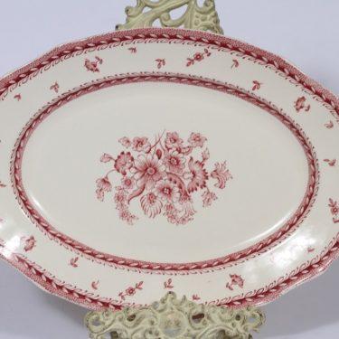 Arabia Suomen kukka vati, punainen, suunnittelija , soikea, kuparipainokoriste, kukka-aihe
