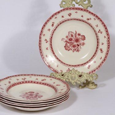 Arabia Suomen kukka lautaset, syvä, 6 kpl, suunnittelija , syvä, kuparipainokoriste, kukka-aihe