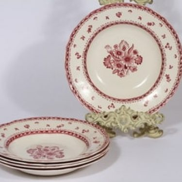 Arabia Suomen kukka lautaset, syvä, 5 kpl, suunnittelija , syvä, kuparipainokoriste, kukka-aihe