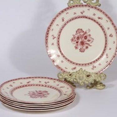 Arabia Suomen kukka lautaset, matala, 6 kpl, suunnittelija , matala, kuparipainokoriste, kukka-aihe