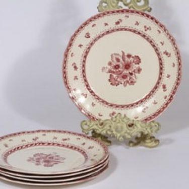 Arabia Suomen kukka lautaset, matala, 5 kpl, suunnittelija , matala, kuparipainokoriste, kukka-aihe