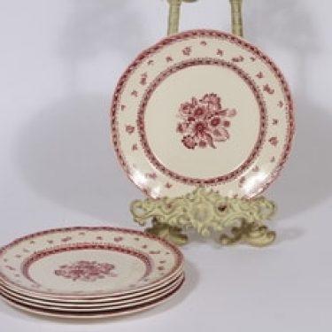 Arabia Suomen kukka lautaset, punainen, 6 kpl, suunnittelija , pieni, kuparipainokoriste, kukka-aihe