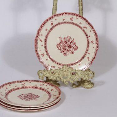 Arabia Suomen kukka lautaset, punainen, 4 kpl, suunnittelija , pieni, kuparipainokoriste, kukka-aihe