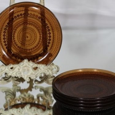 Nuutajärvi Kastehelmi lautaset, ruskea, 5 kpl, suunnittelija Oiva Toikka,