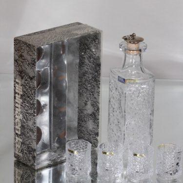 Riihimäen lasi Lara karahvi ja snapsilasit, 4 cl, 4 kpl, suunnittelija Eero Rislakki, 4 cl kuva 2