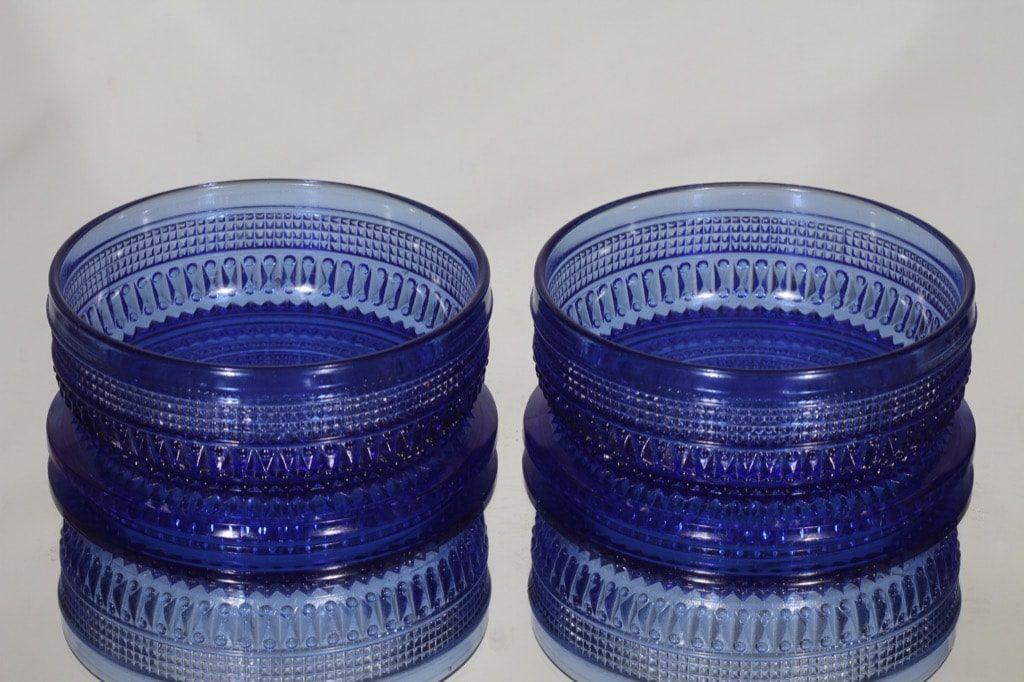 Riihimäen lasi Fortuna kulhot, sininen, 2 kpl, suunnittelija Erkkitapio Siiroinen,