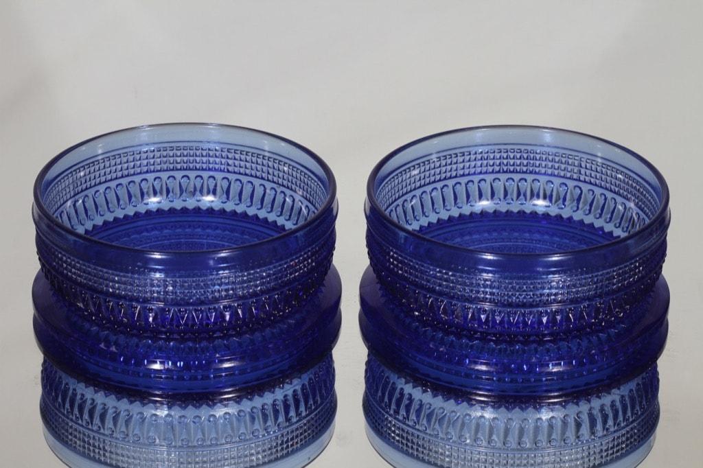Riihimäen lasi Fortuna bowls, blue, 2 pcs, designer Erkkitapio Siiroinen