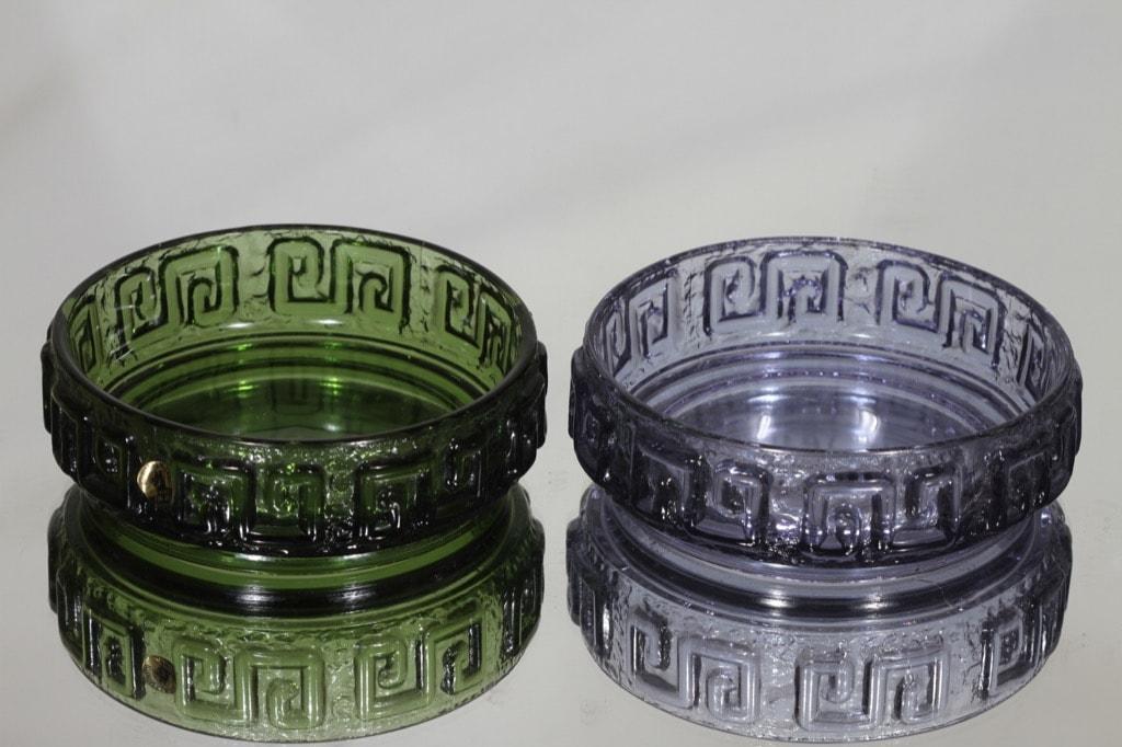 Riihimäen lasi Taalari annoskulhot, neodymi|vihreä, 2 kpl, suunnittelija Tamara Aladin,