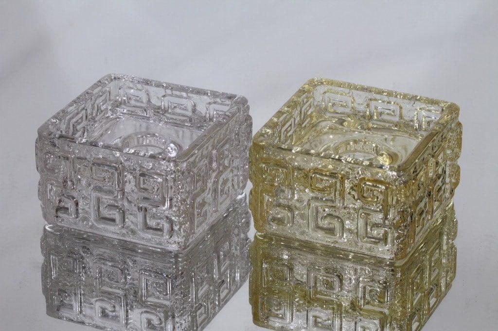 Riihimäen lasi Taalari kynttilänjalat, kirkas|hunaja, 2 kpl, suunnittelija Tamara Aladin,