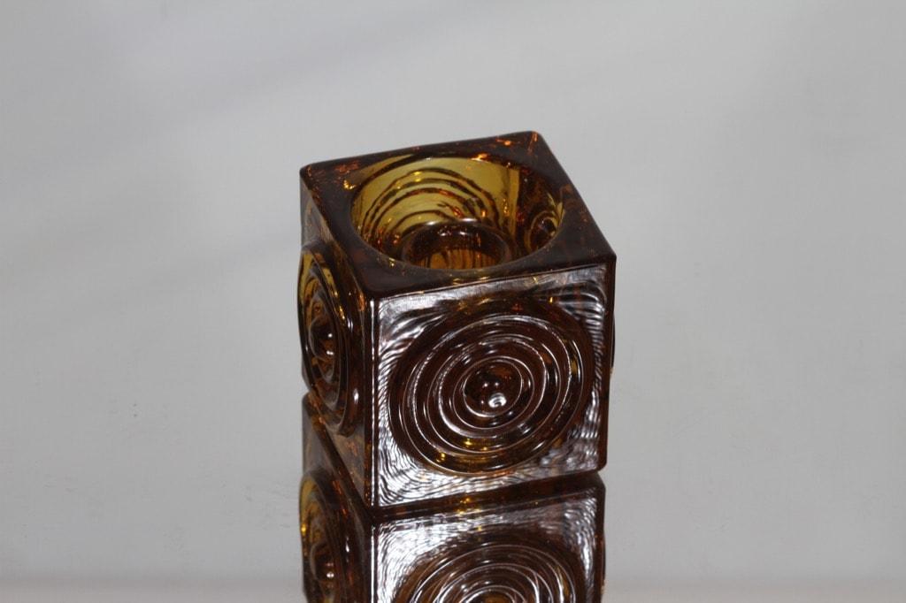 Riihimäen lasi Rengas kynttilänjalka, ruskea, suunnittelija Tamara Aladin, massiivinen