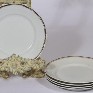 Arabia kultakoriste lautaset, 5 kpl, suunnittelija , pieni, raitakoriste