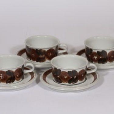 Arabia Rosmarin teekupit, käsinmaalattu, 4 kpl, suunnittelija Ulla Procope, käsinmaalattu, signeerattu