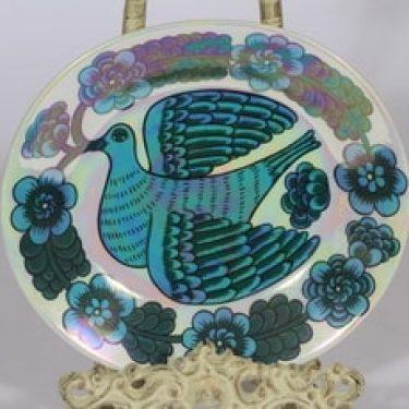 Arabia BK koristelautanen, sininen, suunnittelija Birger Kaipiainen, serikuva, lysteri, lintuaihe