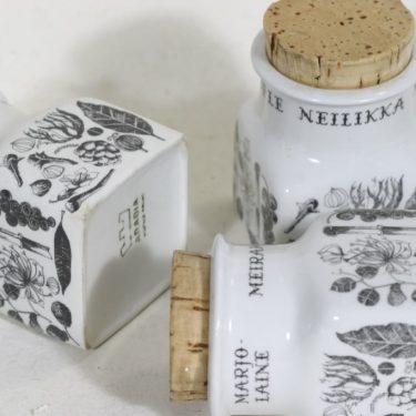 Arabia EK maustepurkit, tekstikuvio, 3 kpl, suunnittelija , tekstikuvio kuva 2