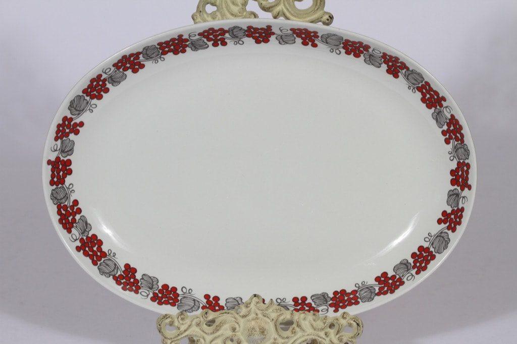 Arabia marjakuvio vati, punainen, suunnittelija , soikea, serikuva, retro
