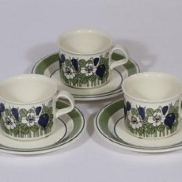 Arabia Krokus kahvikupit, vihreä, 3 kpl, suunnittelija Esteri Tomula, serikuva, kukka-aihe