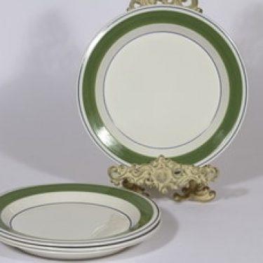 Arabia Krokus ruokalautaset, matala, 4 kpl, suunnittelija Esteri Tomula, matala, serikuva, serikuva, raitakoriste