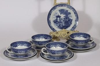 Arabia Canton teekupit, sininen, 4 kpl, suunnittelija , kuparipainokoriste