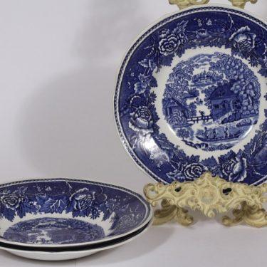 Arabia Maisema lautaset, syvä, 3 kpl, suunnittelija , syvä, kuparipainokoriste