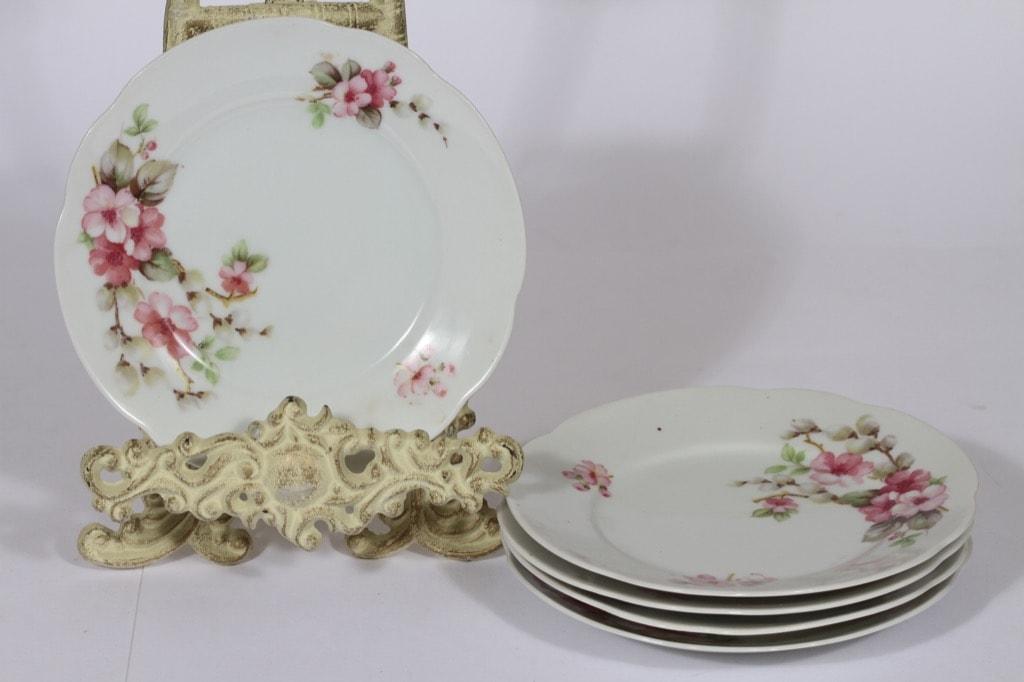 Arabia lautaset, 5 kpl, suunnittelija , pieni, siirtokuva, kukka-aihe