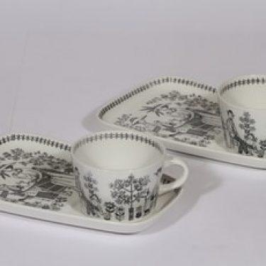 Arabia Emilia kahvikupit ja erikoislautaset, 2 kpl, suunnittelija , kuparipainokoriste