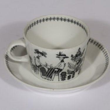 Arabia Emilia kahvikuppi ja lautanen, 20 cl, suunnittelija , 20 cl, kuparipainokoriste
