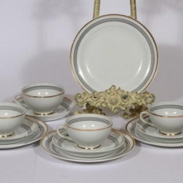 Arabia Minerva kahvikupit ja lautaset, 4 kpl, suunnittelija , raitakoriste
