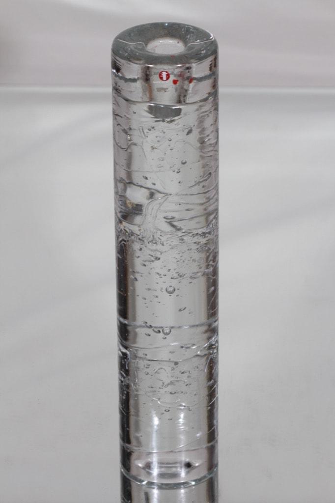 Iittala Arkipelago kynttilänjalka, kirkas, suunnittelija Timo Sarpaneva, suuri, massiivinen