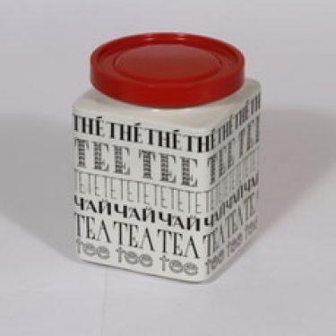 Arabia Kahvi teepurkki, mustavalkoinen, suunnittelija , serikuva, tekstikoriste