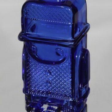 Riihimäen lasi Pikku-Matti koristepullo, sininen, suunnittelija Helena Tynell,