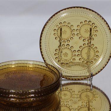 Riihimäen lasi Grapponia lautaset, ruskea, 4 kpl, suunnittelija Nanny Still, pieni