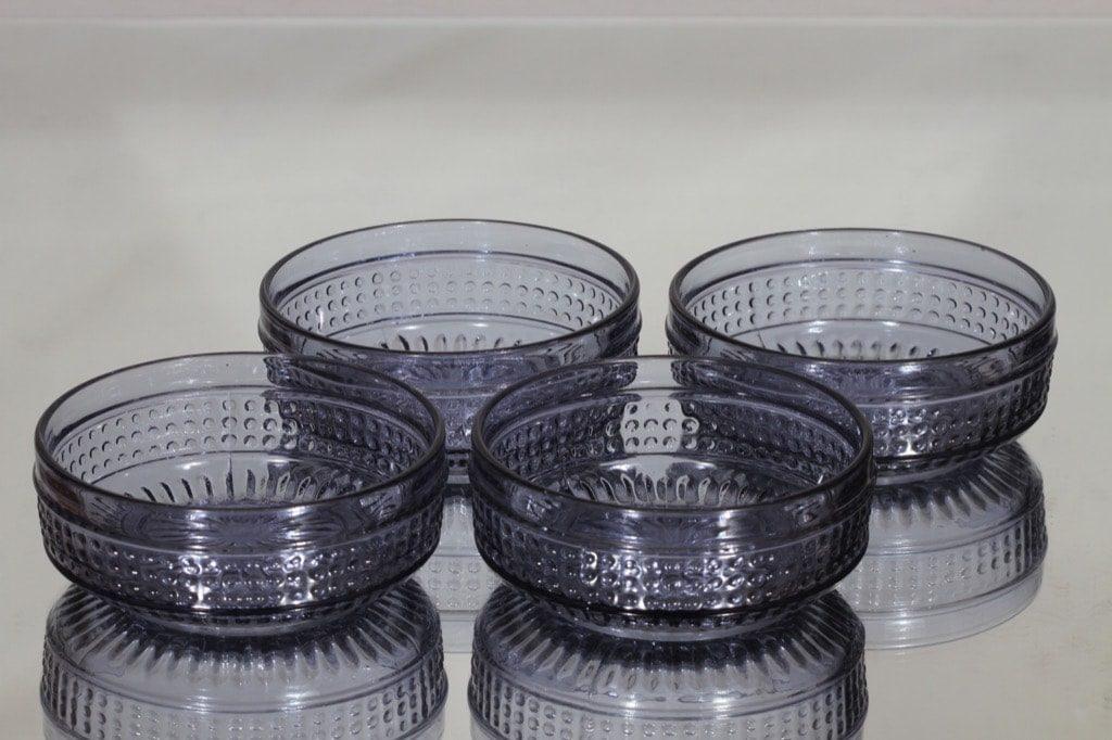 Riihimäen lasi Barokki annoskulhot, siniharmaa, 4 kpl, suunnittelija Erkkitapio Siiroinen,