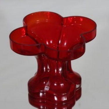 Riihimäen lasi Onnenlehti maljakko, punainen, suunnittelija Helena Tynell,