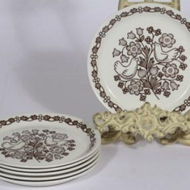 Arabia Sirkku lautaset, 6 kpl, suunnittelija Esteri Tomula, serikuva, pieni