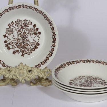 Arabia Sirkku lautaset, syvä, 5 kpl, suunnittelija Esteri Tomula, syvä, serikuva