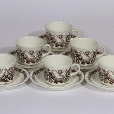 Arabia Sirkku kahvikupit, rubiininpunainen|ruskea, 6 kpl, suunnittelija Esteri Tomula, serikuva