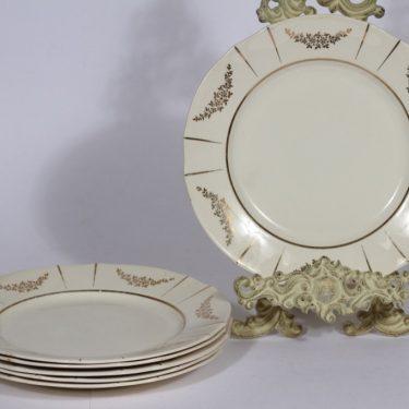 Arabia Irja lautaset, matala, 6 kpl, suunnittelija , matala, painokoriste, kultakoriste