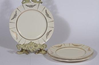 Arabia Irja lautaset, matala, 5 kpl, suunnittelija , matala, painokoriste, kultakoriste