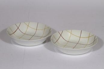 Arabia Verkko lautaset, syvä, 2 kpl, suunnittelija Raija Uosikkinen, syvä, viivakoriste