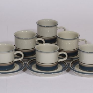 Arabia S kahvikupit, 6 kpl, suunnittelija Inkeri Leivo, raitakoriste