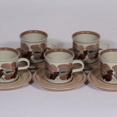 Arabia S kahvikupit, käsinmaalattu, 5 kpl, suunnittelija Raija Uosikkinen, käsinmaalattu