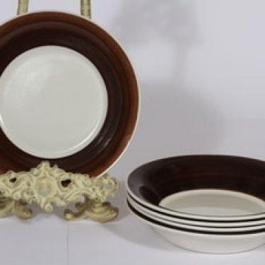 Arabia Inari lautaset, syvä, 5 kpl, suunnittelija Göran Bäck, syvä