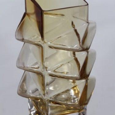 Riihimäen lasi Pablo maljakko, amber, suunnittelija Erkkitapio Siiroinen,