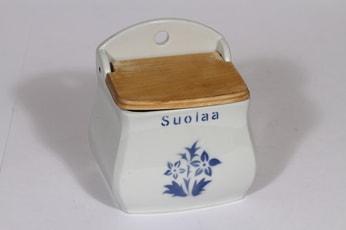 Arabia kukkakuvio suola-astia, suunnittelija , puhalluskoriste, puukansi